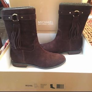 Michael Kors Suede Brown Fringe Calf Boots